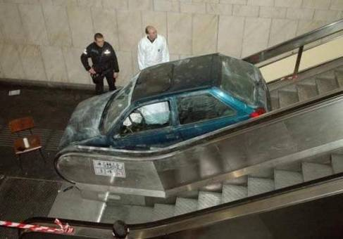 car down escalator