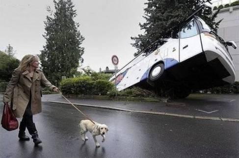 coach sunk into ground