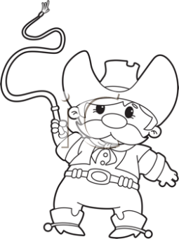 short cartoon cowboy with whip